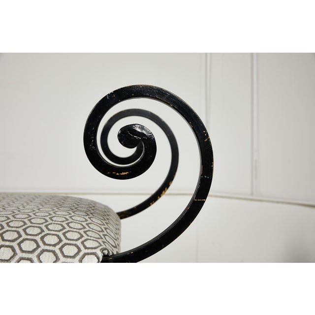 Metal Hollywood Regency Scrolling Iron Bench in Jim Thompson Fabric For Sale - Image 7 of 12