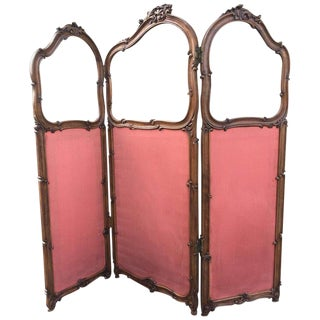 19th Century French Carved Walnut and Gilt Three-Fold Screen For Sale