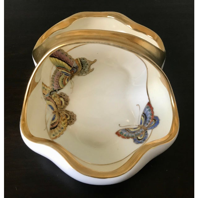 Vintage Hand Painted Butterfly Nippon Decorative Basket Catchall For Sale - Image 9 of 11