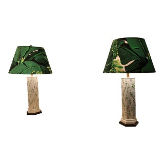 White Bamboo Lamps With Carlton Varney Shades - A Pair