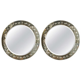 Pair of Round Bullseye Etched Panel Art Deco Mirrors For Sale