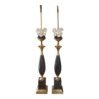 Vintage Westwood Mid-Century Regency Empire Black Marble Brass Lamps- a Pair For Sale