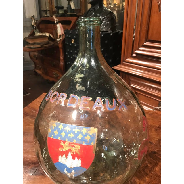 French Large French Handblown Wine Bottle With Handpainted Coat of Arms of Bordeaux For Sale - Image 3 of 11