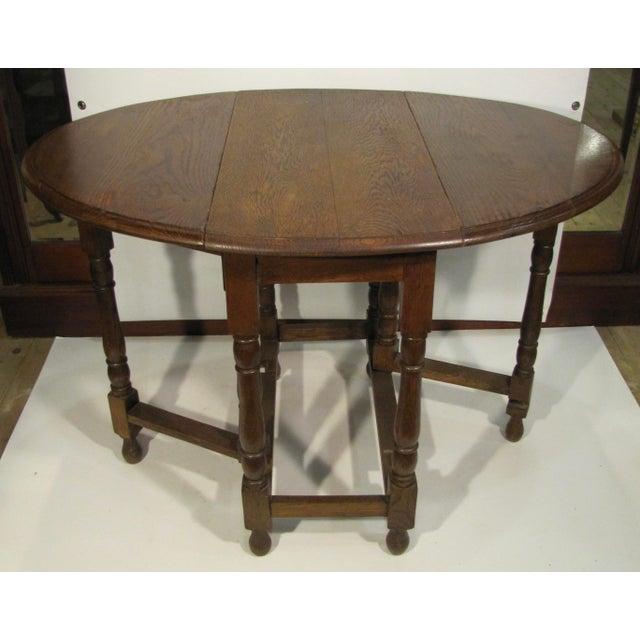 1920s 1920s Edwardian Drop Leaf Oak Table For Sale - Image 5 of 6