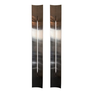 Large Stainless Steel Panel Sconces. France, 1970s For Sale