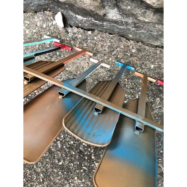 Blue Multi Colored Metal Oar Wall Hooks For Sale - Image 8 of 9