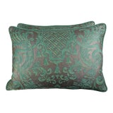 Image of Soft Peacock & Silvery Gold Fortuny Pillows, Pair For Sale