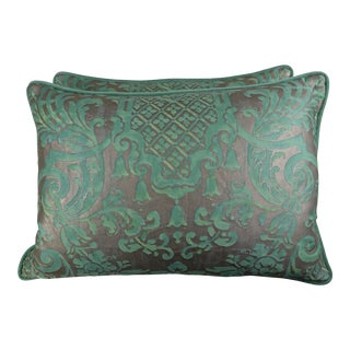 Soft Peacock & Silvery Gold Fortuny Pillows, Pair For Sale
