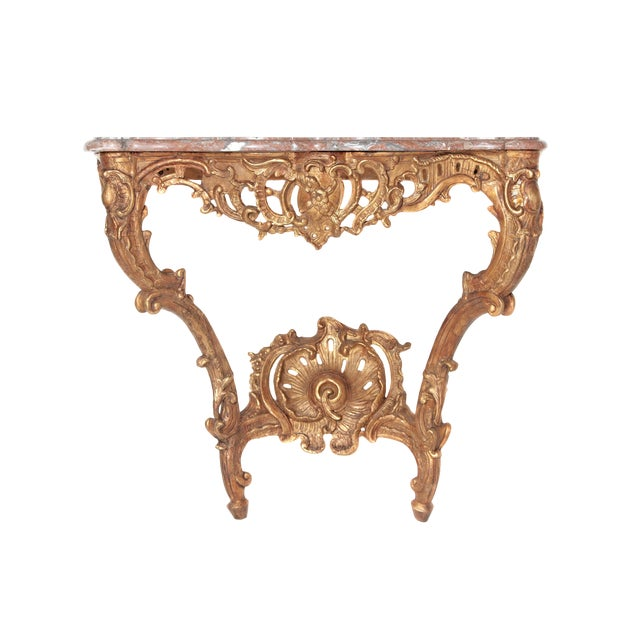 Louis XV French Console Table With Marble Top For Sale