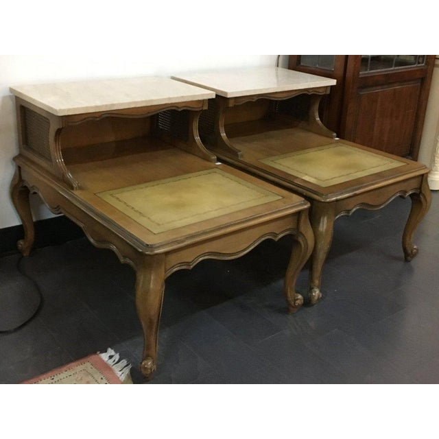 Antique French Style Marble Top Nightstands - A Pair - Image 5 of 10