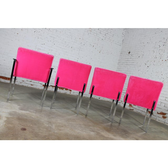 Vintage American of Martinsville Mid Century Modern Hot Pink & Chrome Dining Chairs - Set of 4 For Sale - Image 5 of 11