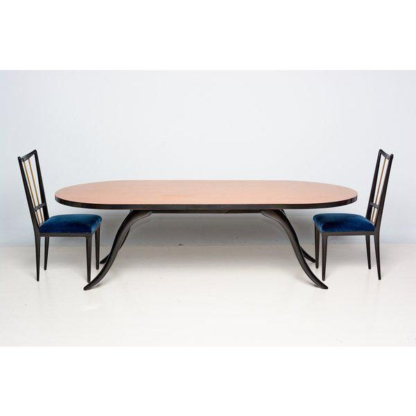 For your consideration a dining set (six chairs and dining table) custom-made by Eugenio Escudero. Constructed with...