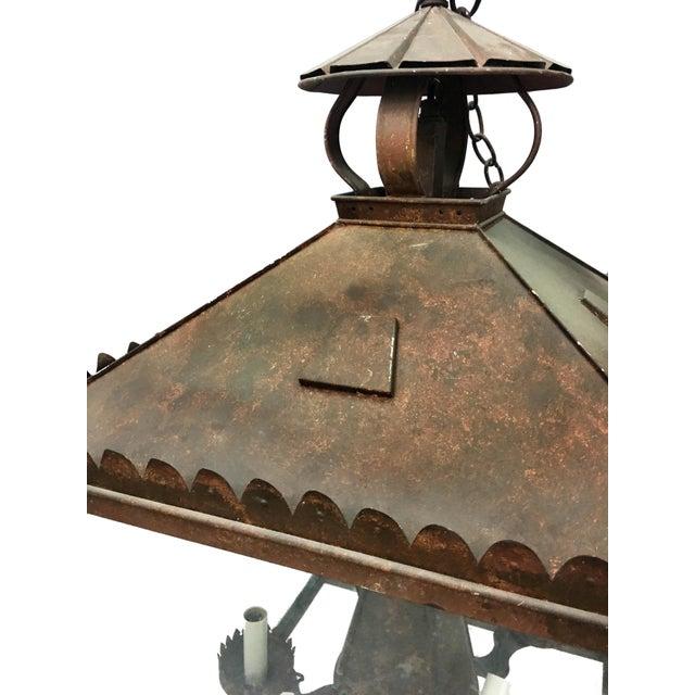 Vintage Tole Faux Bronze Lantern For Sale - Image 4 of 5