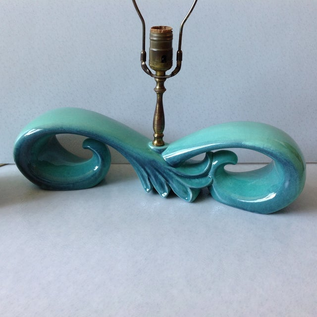 Mid-Century Sea Foam Green & Blue Pottery Lamp Set For Sale - Image 7 of 11