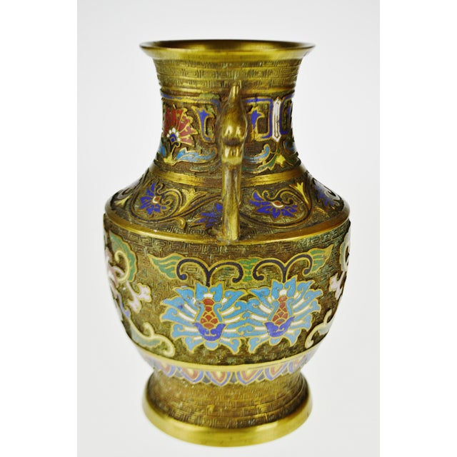 Vintage Japanese Brass Champleve Urn Shaped Vase with Figural Handles For Sale In Philadelphia - Image 6 of 11