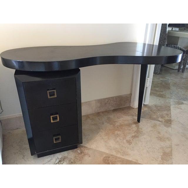 Mid Century Modern Black Desk - Image 3 of 5