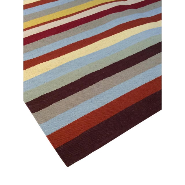 Contemporary Anatolian Hand-Woven Striped Cotton Rug- 5' X 8' For Sale - Image 3 of 4