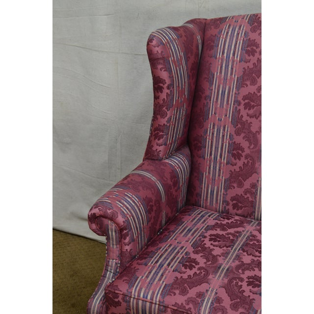 Ethan Allen Ethan Allen Chippendale Style Cherry Clean Upholstered Wing Chair For Sale - Image 4 of 12
