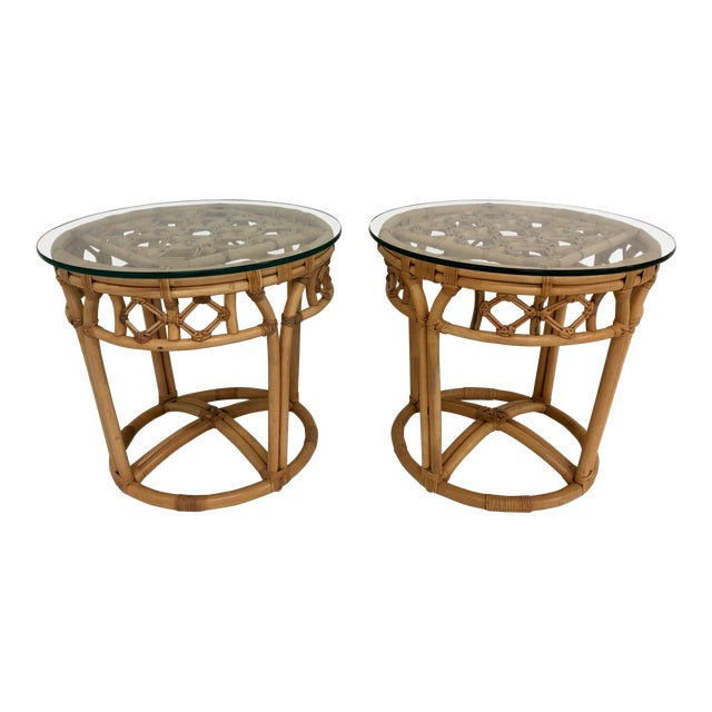 Vintage Boho Chic Rattan and Reed Side Tables - a Pair For Sale