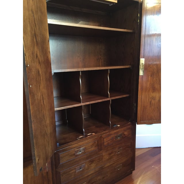 Gold Campaign Style Henredon Pecan Double Armoire With Brass Pulls For Sale - Image 8 of 10