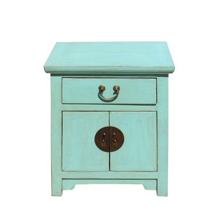 Oriental Distressed Light Aqua Green Lacquer Side End Table Nightstand For Sale