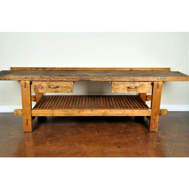 French 1950s French Reclaimed Wood Workers Bench Table For Sale - Image 3 of 5