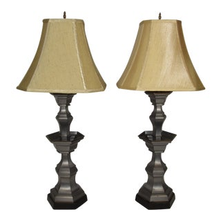 1940s Chinese Pewter Lamps - a Pair For Sale