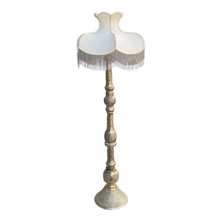 Vintage Monumental Moroccan Etched Brass Floor Lamp For Sale