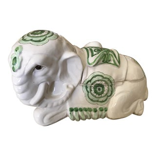 Vintage Italian Ceramic Elephant Box For Sale