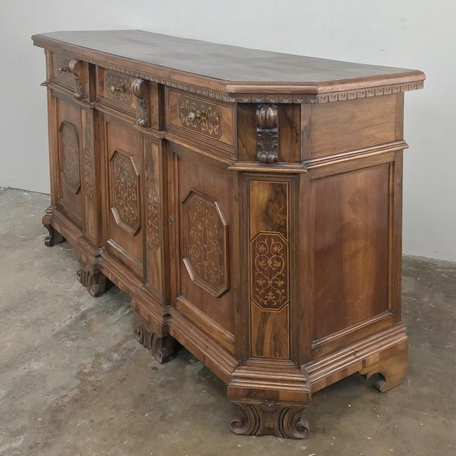 Brown Antique Italian Baroque Inlaid Walnut Buffet For Sale - Image 8 of 13