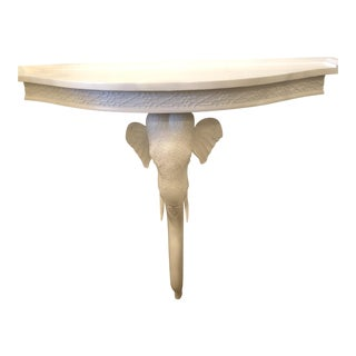 Vintage Gampel and Stoll White Lacquered Fret Elephant Demi Lune Wall Console Table Shelf