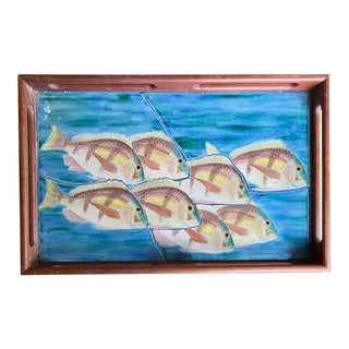 Vintage Tile Serving Tray - School of Fish, Signed by Artist For Sale