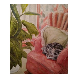 Vintage Painting Sleeping Cat Curled on Melon Chair on a Lazy Afternoon For Sale