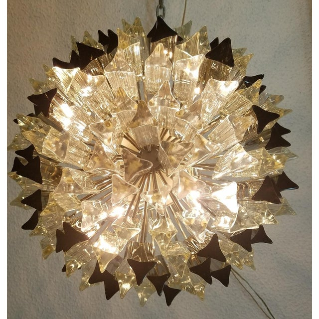 Mid-Century Modern Venini Clear & Dark Glass Chandelier For Sale - Image 5 of 11