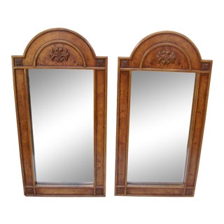 Vintage Thomasville Mid Century Burled Walnut Dresser Wall Mirrors - a Pair For Sale