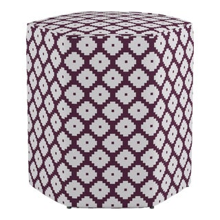 Hexagonal Ottoman in Plum Ziggurat For Sale