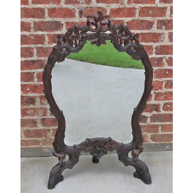Antique French Oak Black Forest Framed Wall or Easel Standing Mirror Firescreen For Sale - Image 10 of 13
