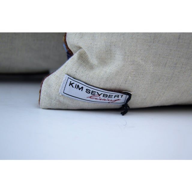 Kim Seybert Crewel Embroidered Throw Pillows - A Pair For Sale - Image 5 of 5