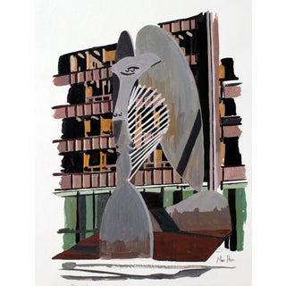 Picasso Statue Illustration Giclee Print For Sale