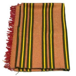 Vintage Mid-Century Woven Wool & Cotton Throw For Sale