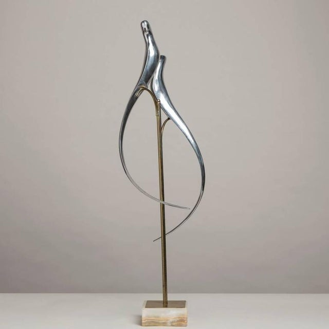Pair of Sculptural Polished Metal Birds by Curtis Jere, 1977 - Image 2 of 4