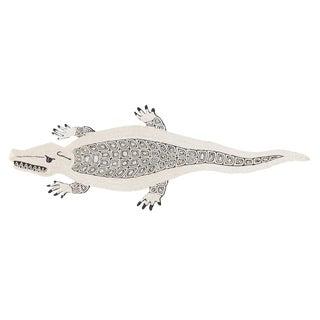 Modern Schumacher Charlap Hyman & Herrero Caiman Alligator Natural Abaca Rug - 3′5″ × 9′5″ For Sale