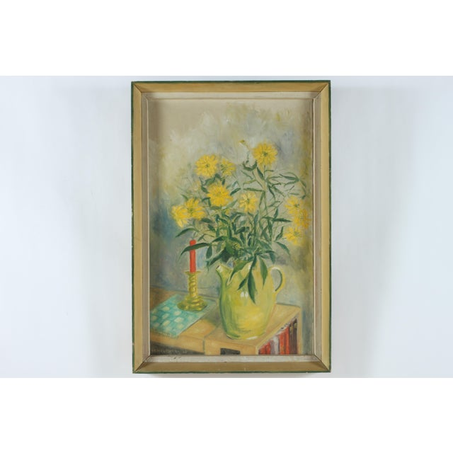 Oil on canvas still life painting depicting yellow daisies in a vase, signed H. Holmberg and dated 1960 in lower left...