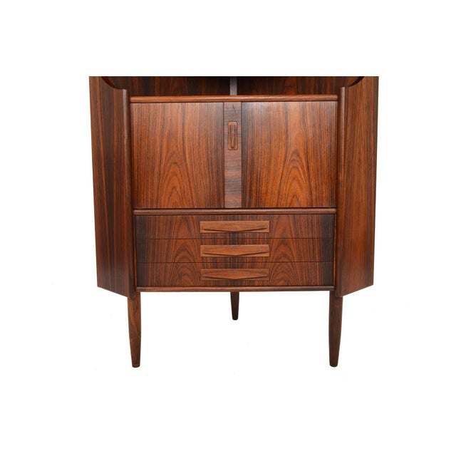 Danish Modern Rosewood Corner Bar - Image 5 of 9