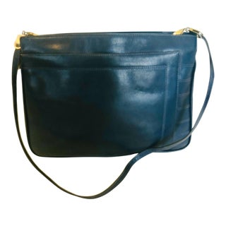 Salvatore Ferragamo Navy Leather Envelope Clutch or Purse For Sale