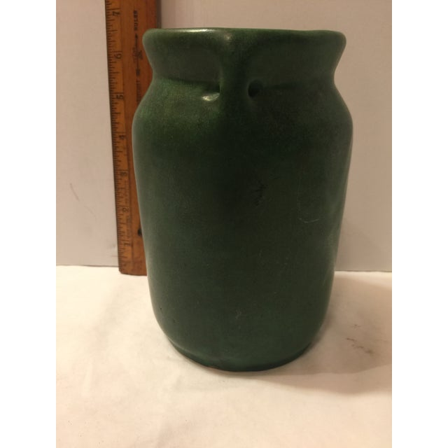 Mission Arts & Crafts Green Art Pottery Vase For Sale - Image 4 of 8