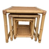 Image of 1970s Boho Chic Rattan and Wicker Nesting Tables - Set of 3 For Sale
