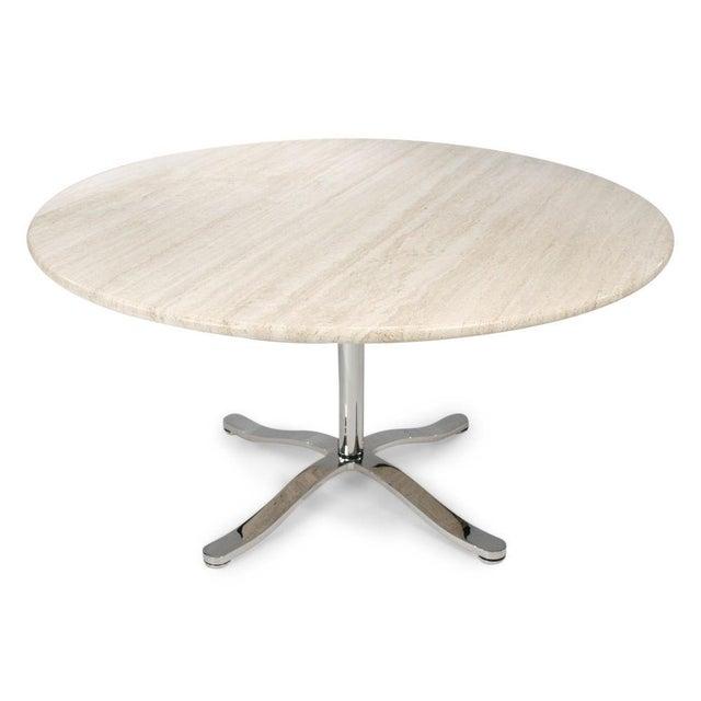 Mid-Century Modern Nicos Zographos Travertine & Chromium Steel Pedestal Table For Sale - Image 3 of 6