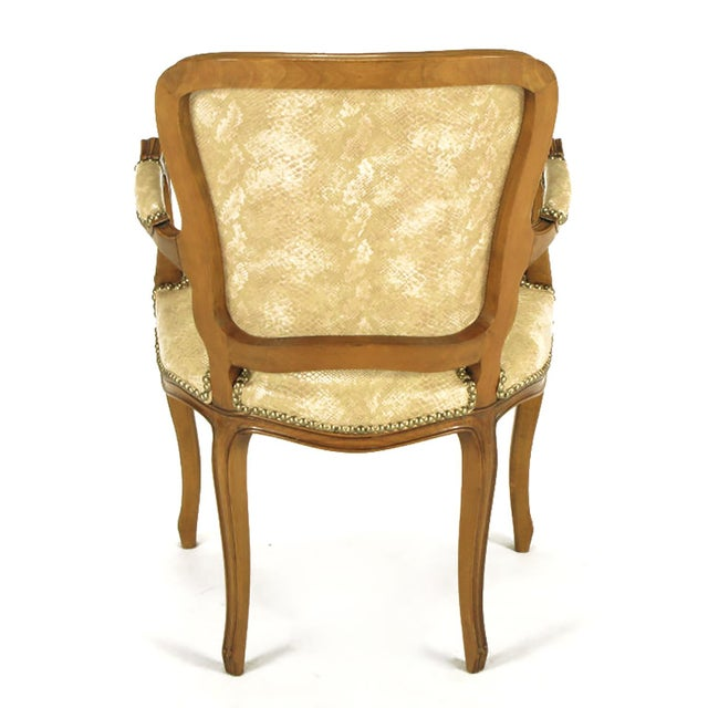 Pair of Walnut Louis XV Style Armchairs in Faux Python - Image 6 of 8