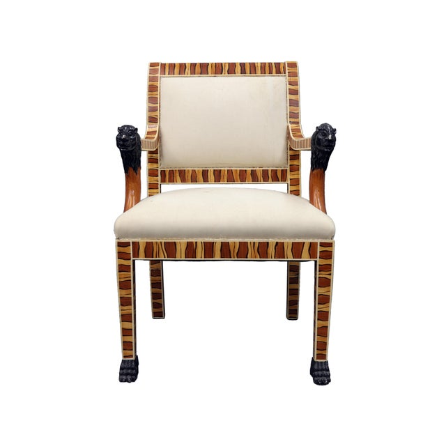 Wood Vintage Mid Century Hand Painted Faux Wood Arm Chair For Sale - Image 7 of 7